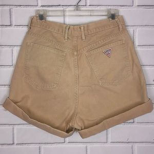 Vintage GUESS High Rise Jean Shorts sz 31 tan